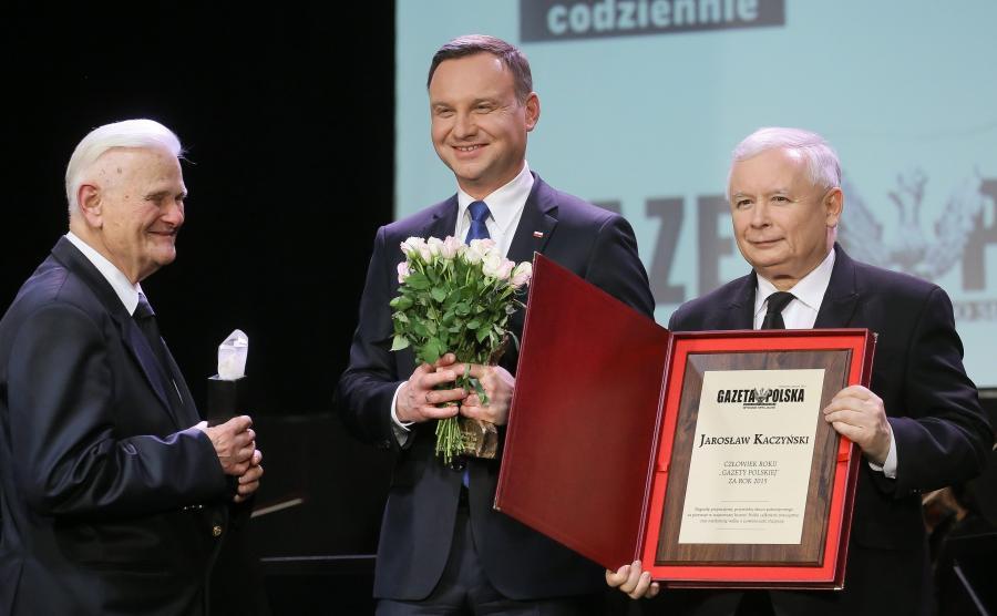 prezydent Andrzej Duda, prezes PiS Jarosław Kaczyński i sędzia Bogusław Nizieński