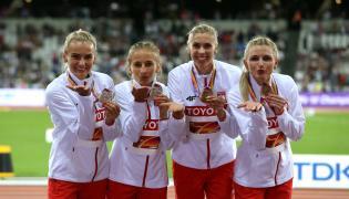 Polki (od lewej): Justyna Święty, Aleksandra Gaworska, Iga Baumgart i Małgorzata Hołub, zdobyły brązowy medal w biegu sztafetowym 4x400 m