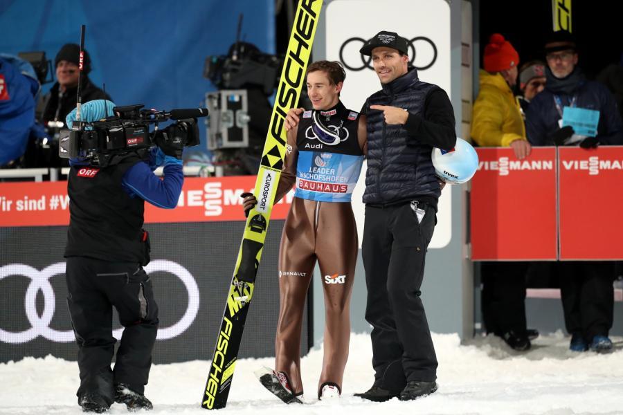 Kamil Stoch i były niemiecki skoczek narciarski Sven Hannawald