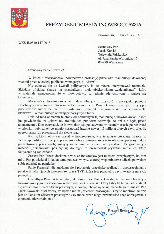 List prezydenta Ryszarda Brejzy do prezesa Jacka Kurskiego