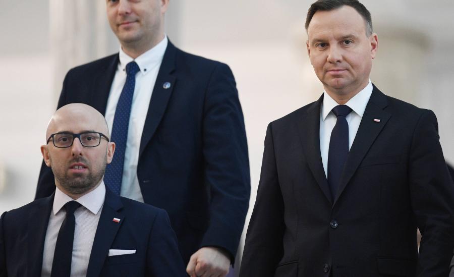 Prezydent Andrzej Duda i rzecznik prasowy prezydenta RP Krzysztof Łapiński w Sejmie