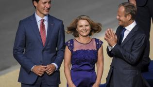 Justin Trudeau oraz Małgorzata i Donald Tuskowie