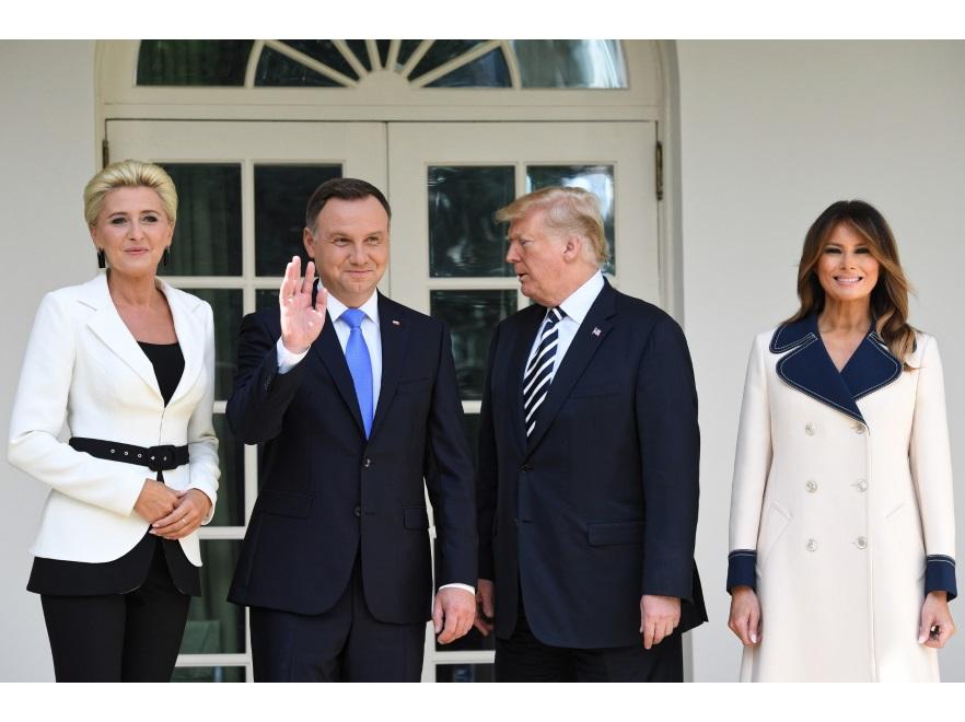 Agata Kornhauser-Duda i Andrzej Duda oraz  Donald i Melania Trumpowie
