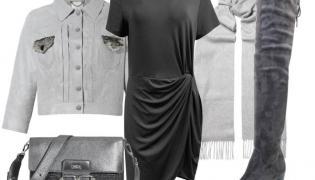 Modne drapowania na jesień 2018: sukienka-Fablu/fablu.pl, kurtka-Boca/boca.pl, torebka-Boca/boca.pl, kozaki-Caprice/caprice.pl, szal-TK Maxx