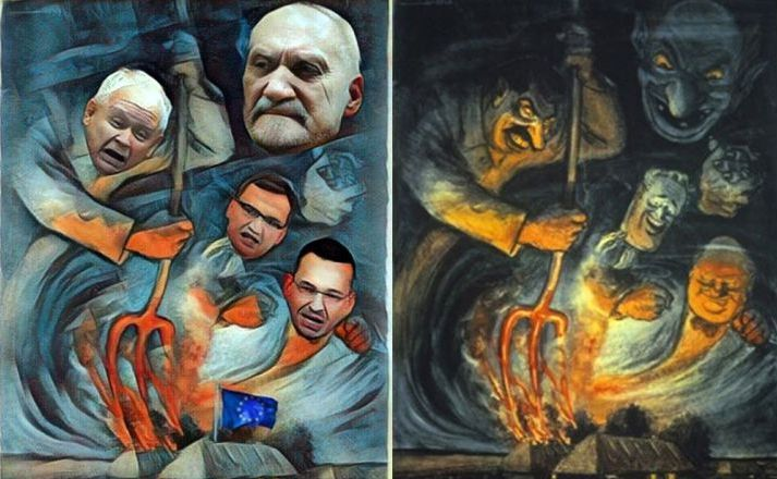 Plakat z politykami PiS i oryginalny plakat nazistowski / Piotr Woźniak