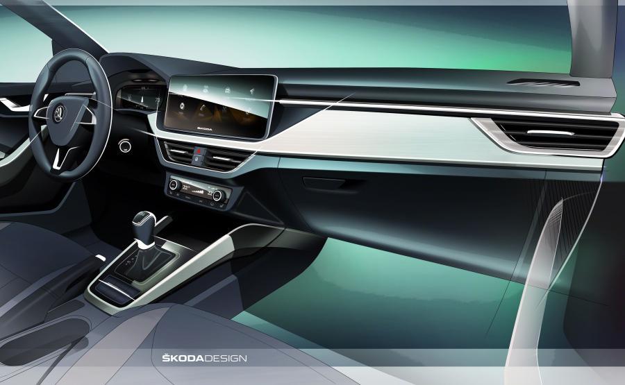 W nowej Skodzie Scala styl wnętrza znany z prototypu Vision RS, po raz pierwszy został zaadaptowany do modelu produkcyjnego. Oświetlenie wewnątrz auta jest dostępne w dwóch wariantach: białym i czerwonym. Istnieje też możliwość zamówienia tapicerek wykonanych z ekskluzywnego materiału Suedii