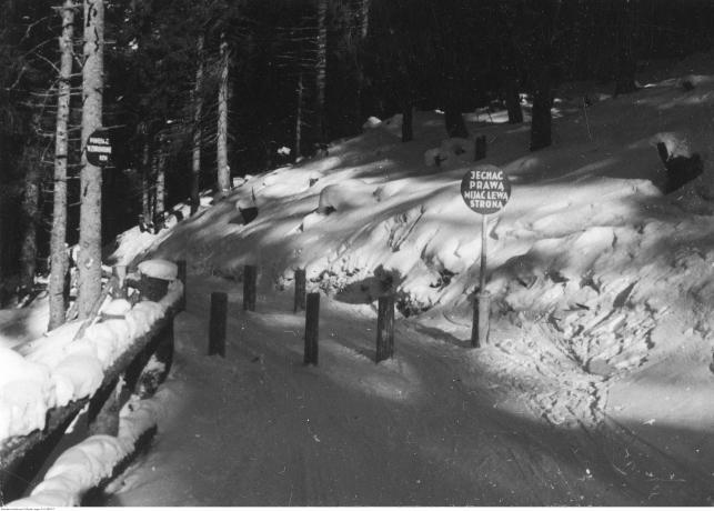 Fragment nartostrady w Tatrach z oznakowaniem