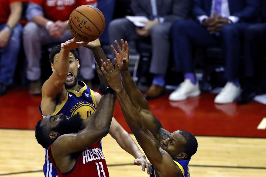 Klay Thompson, Andre Iguodala i James Harden