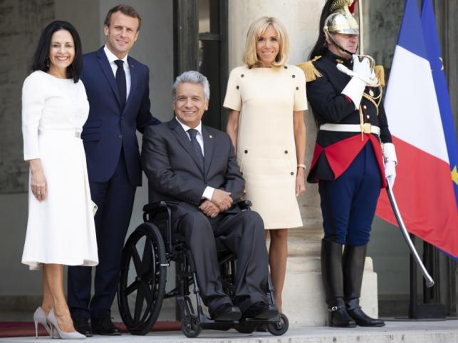 Lady Rocio Gonzalez Navas, Emmanuel Macron, Lenin Moreno Garces i Brigitte Macron