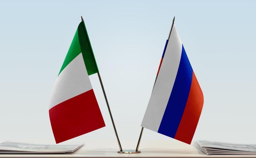 Flagi Włoch i Rosji