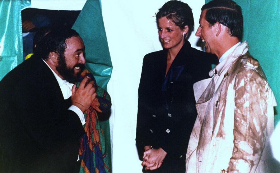 Luciano Pavarotti w towarzystwie księżnej Diany i księcia Karola