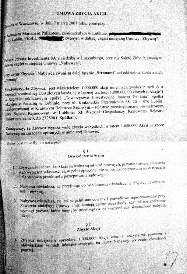 Pierwsza strona umowy między Palikotem a CEPI
