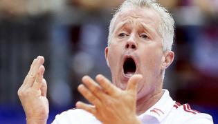 Trener reprezentacji Polski Vital Heynen podczas meczu turnieju kwalifikacyjnego siatkarzy do igrzysk olimpijskich ze Słowenią