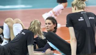 Siatkarka reprezentacji Polski Aleksandra Wójcik podczas treningu w hali Atlas Arena