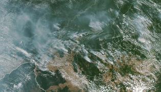 Pożar Amazonii widziany z kosmosu