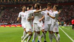 Piłkarze reprezentacji Polski cieszą się z gola Przemysława Frankowskiego