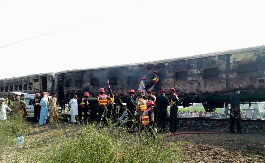 Pożar w pociągu w Pakistanie