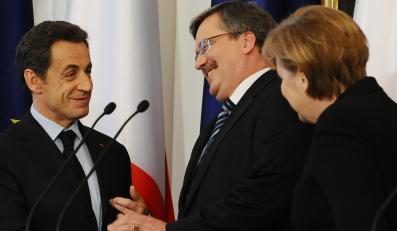 Nicolas Sarkozy, Bronisław Komorowski i Angela Merkel podczas szczytu Trójkąta Weimarskiego w Warszawie