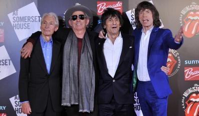 "Charlie Watts, Keith Richards, Ronnie Wood i Mick Jagger na otwarciu wystawy ""Rolling Stones 50"""