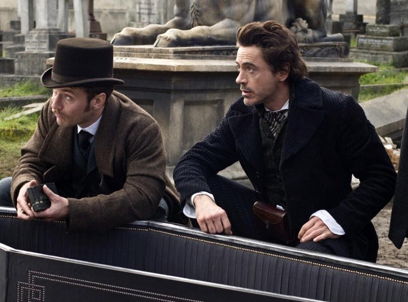 Jude Law i Robert Downey Jr (Watson i Holmes) w \