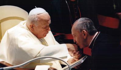 Kardynał Jorge Mario Bergoglio i Jan Paweł II