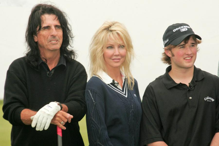 Haley Joel Osment oraz Alice Cooper i Heather Locklear na turnieju golfoym Michaela Douglasa (2007)