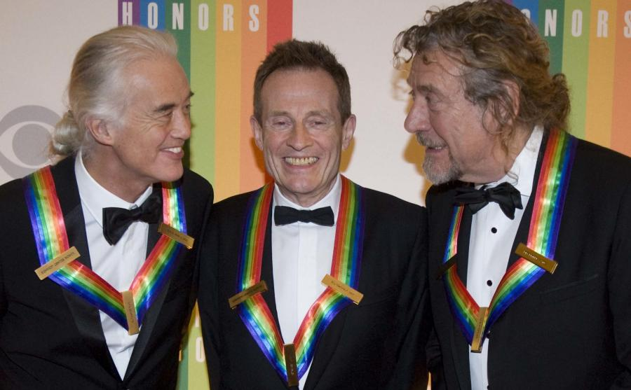 Legendarni muzycy Led Zeppelin: Jimmy Page, John Paul Jones i Robert Plant
