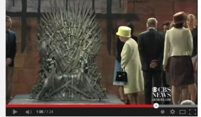 """Królowa Elżbieta na planie """"Gry o tron"""""""