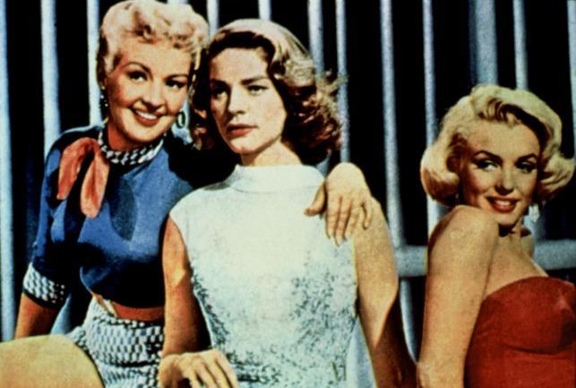 """Lauren Bacall, Betty Grable i Marilyn Monroe w filmie """"Jak poślubić milionera?"""""""