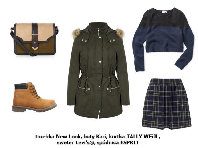 Torebka New Look: 99,99 pln Buty Kari: 129,9 pln Kurtka TALLY WEiJL: 319,9 pln Sweter Levi's®: 539 pln Spódnica ESPRIT: 249 pln