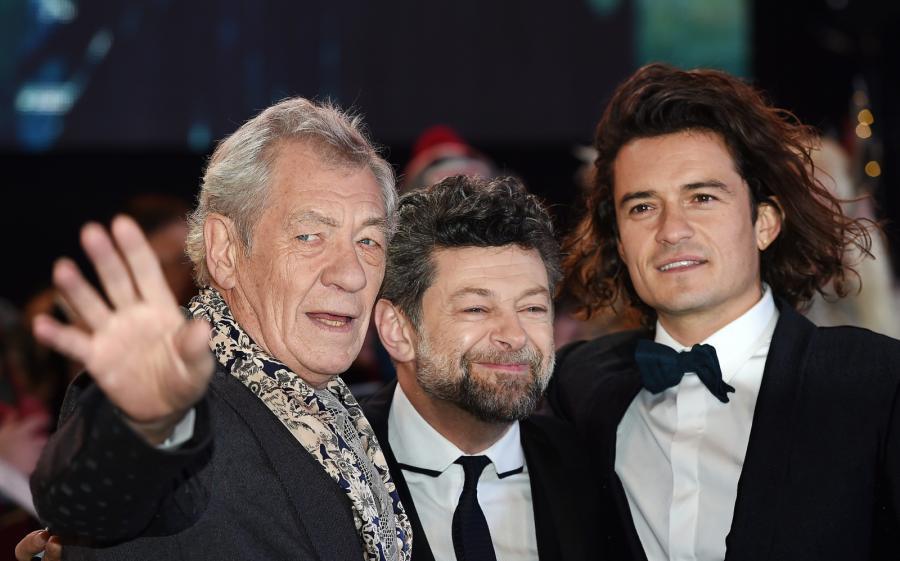 Ian McKellen, Andy Serkis i Orlando Bloom na premierze w Londynie