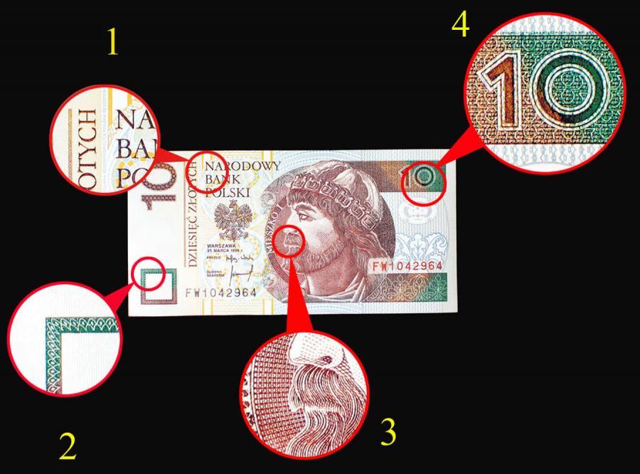 Sfałszowany banknot możemy rozpoznać