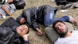 Imigranci w obozie dla uchodźców w miejscowości Opatovac w Chorwacji