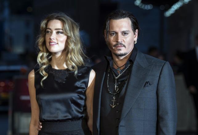 Johnny Depp z żoną Amber Heard