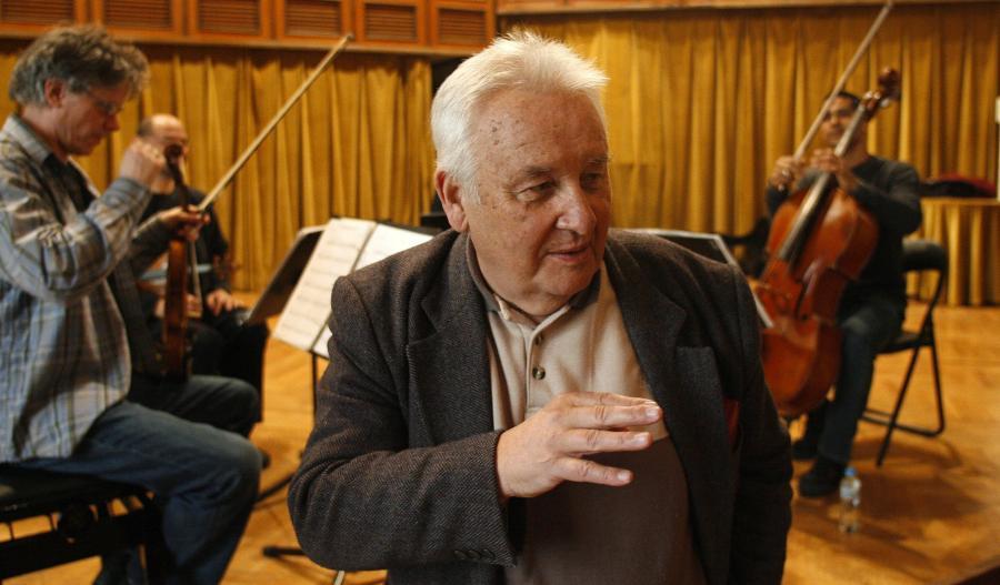 Henryk Mikołaj Górecki w auli Akademii Muzycznej w Katowicach w 2007 roku