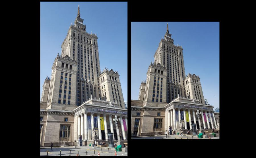 Pałac Kultury - zdjęcie po lewej zrobione aparatem w telefonie Samsung S6, po prawej - S7