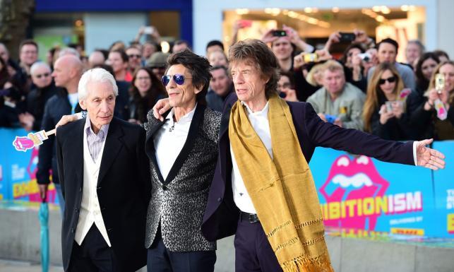 Muzycy The Rolling Stones na otwarciu wystawy podsumowującej 50-lecie zespołu