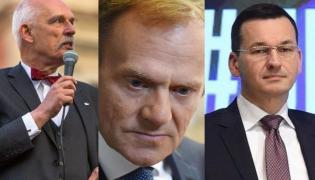 Janusz Korwin-Mikke, Donald Tusk i Mateusz Morawiecki