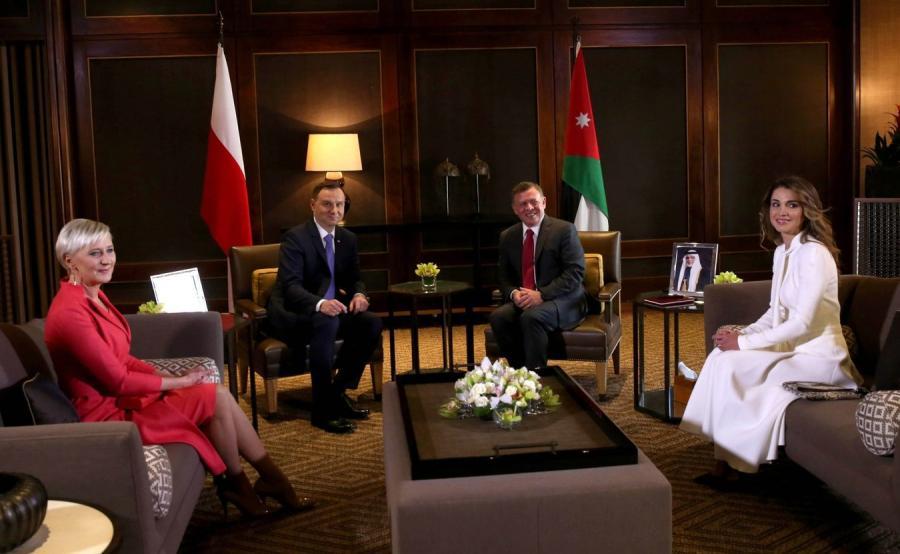 Agata Kornhauser-Duda, prezydent Andrzej Duda, król Abdullah II i królowa Rania