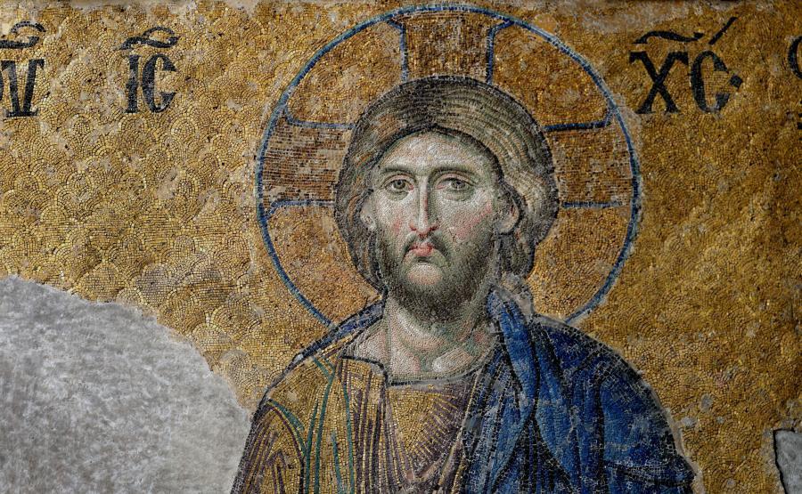 Mozaika przedstawiająca twarz Jezusa Chrystusa w świątyni Hagia Sophia w Stambule